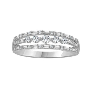 3-layered diamond channel white gold ring-Couple Jewellery