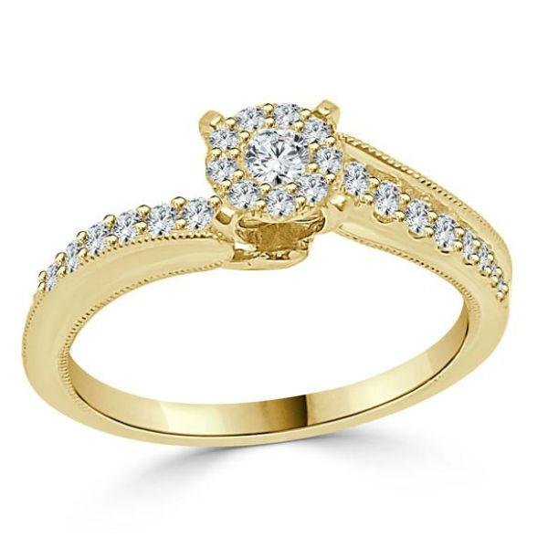 Round tension engagement ring with diamonds