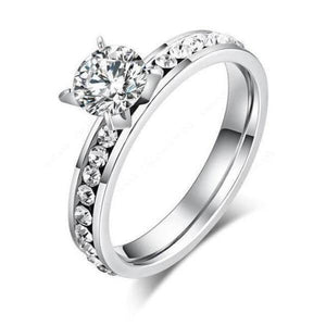 Titanium cubic zirconia ring-Couple Jewellery