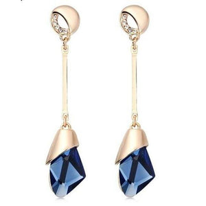 Geometric crystal earrings-Couple Jewellery