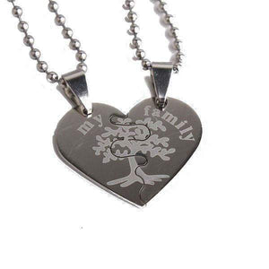"""My Family"" tree hearts couple necklaces-Couple Jewellery"