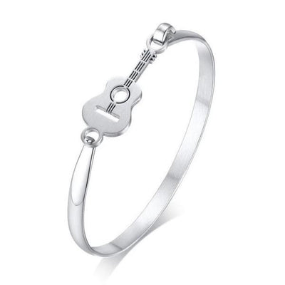 Elegant guitar charm silver cuff bangle-Couple Jewellery
