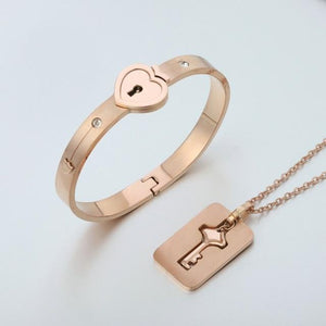 Love heart lock couple bracelet and necklaces-Couple Jewellery