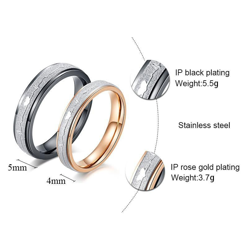 Bands Couple Rings-Couple Jewellery