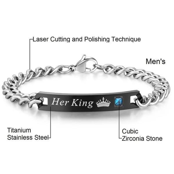 Stainless steel chain bracelets-Couple Jewellery