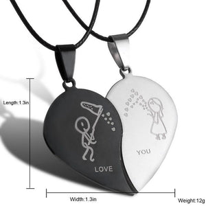 Couple Broken Heart Necklaces-Couple Jewellery