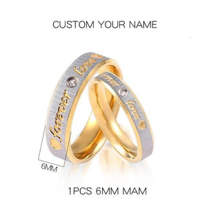 Custom Name Gold Forever Love Wedding Couple Rings-Couple Jewellery