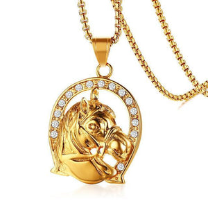Gold color stainless steel horse necklace-Couple Jewellery