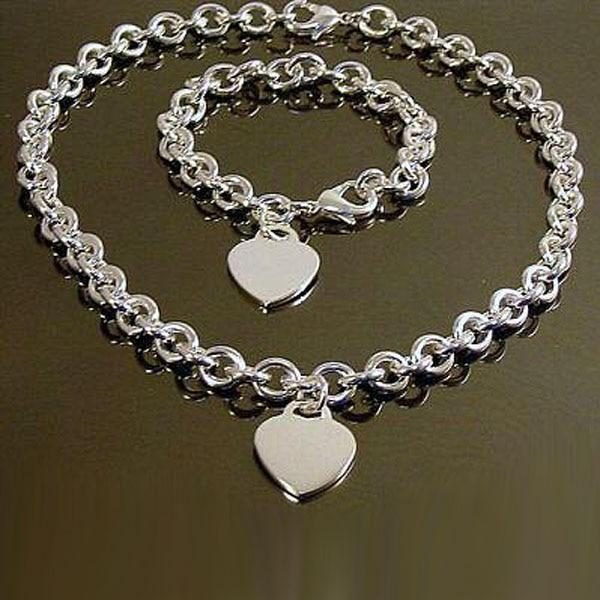 Set heart charm bracelet and necklace-Couple Jewellery