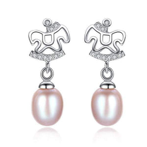 925 Sterling silver lovely horse stud earrings with natural pearls-Couple Jewellery