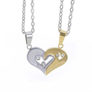 couples heart necklace sets-Couple Jewellery
