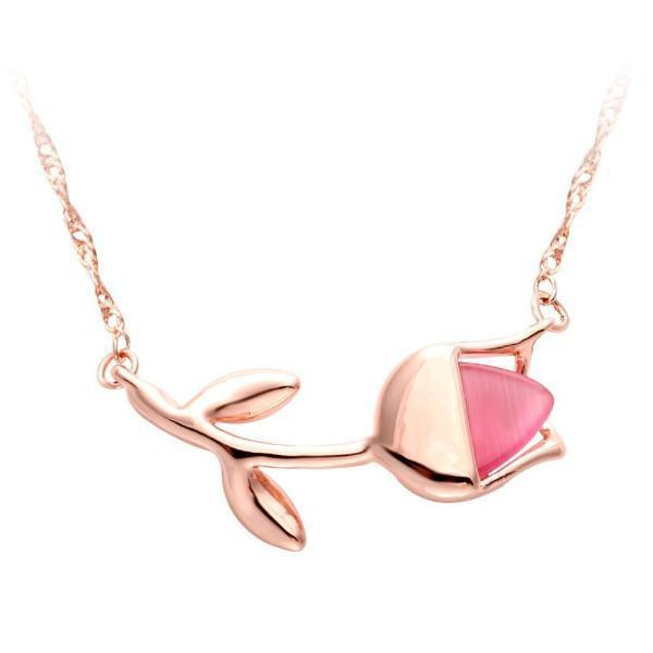 Rose gold floral necklace-Couple Jewellery