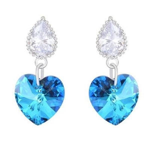 Heart crystal earrings-Couple Jewellery