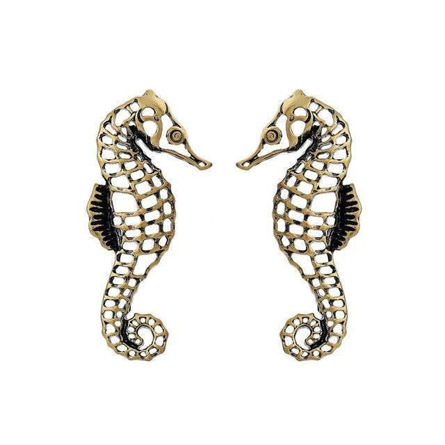 Antique gold filigree sea horse earrings-Couple Jewellery