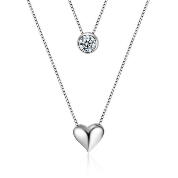 Double heart necklaces-Couple Jewellery