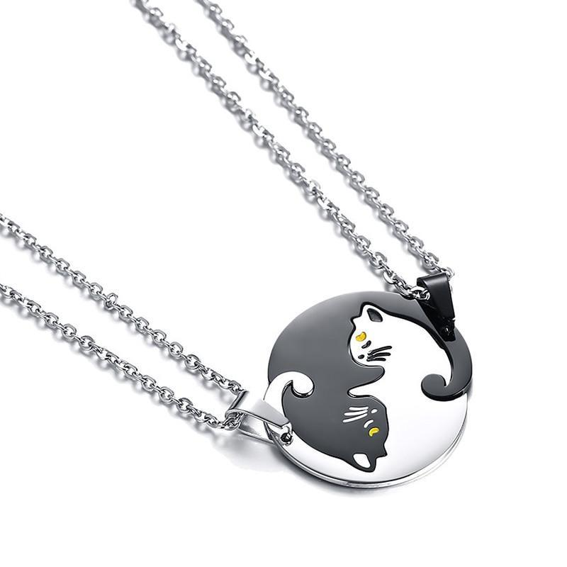 Couples cat necklaces