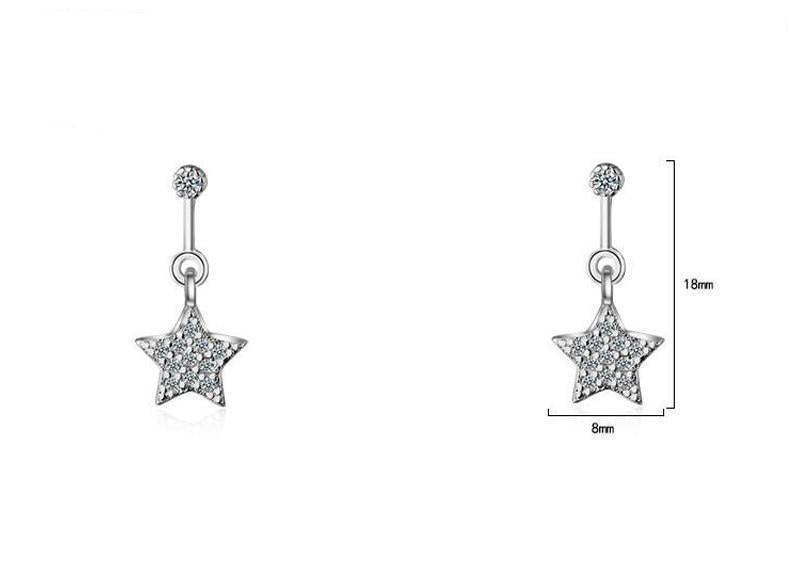 Silver star dangle earrings with crystals-Couple Jewellery
