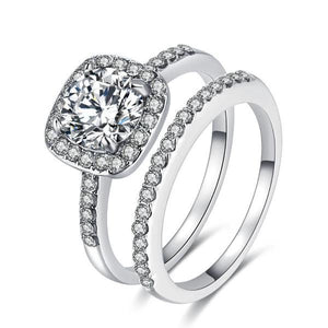 Engagement zircon crystal rings-Couple Jewellery