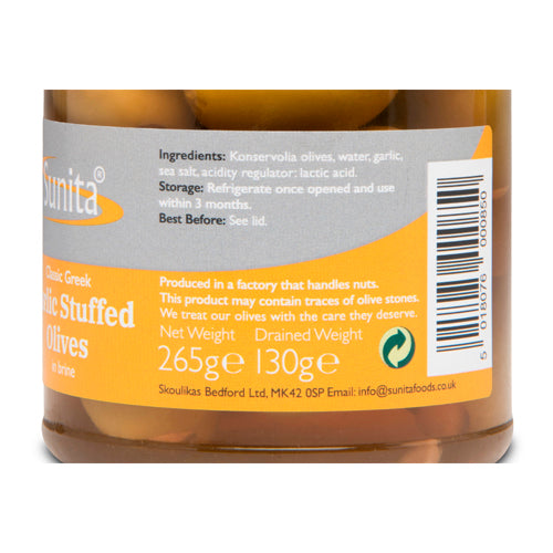 Sunita Garlic Stuffed Olives 265g