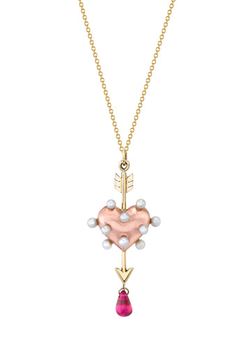 Petite Through the Heart Pearl Necklace