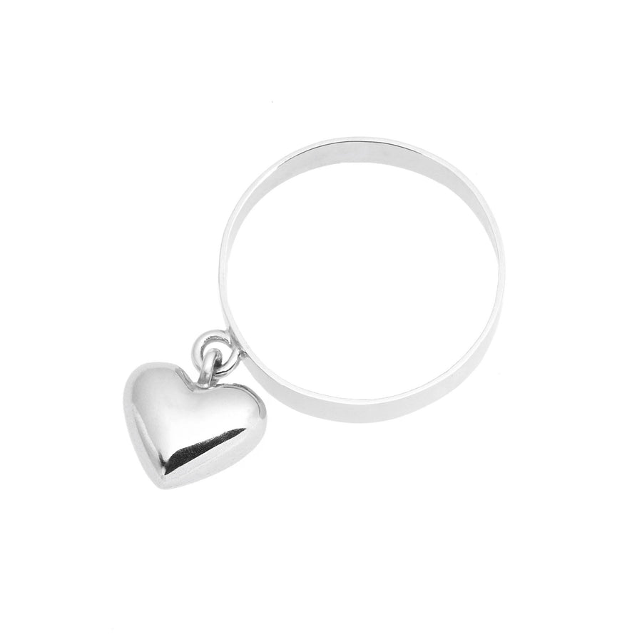 Dangling Silver Heart Ring