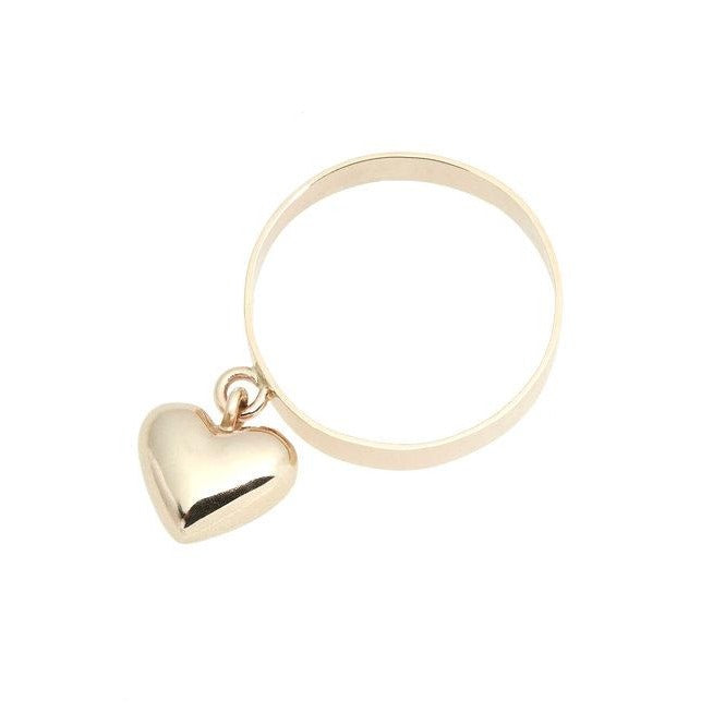Dangling Gold Heart Ring