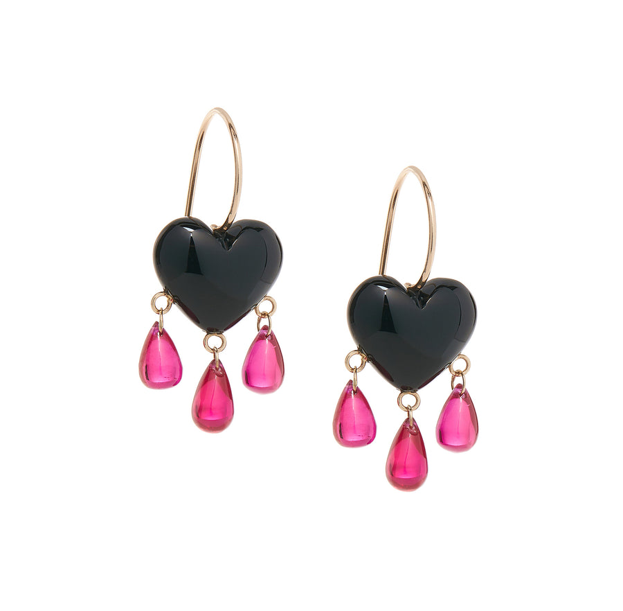 Onyx Bleeding Heart Earrings