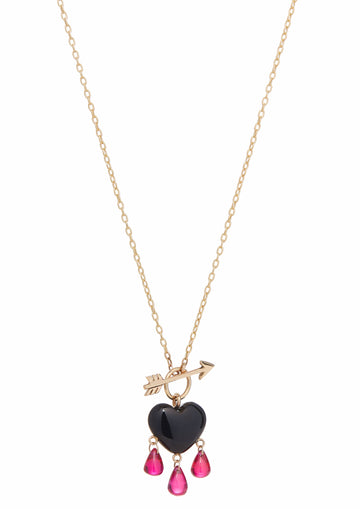 Onyx Bleeding Heart Necklace Small