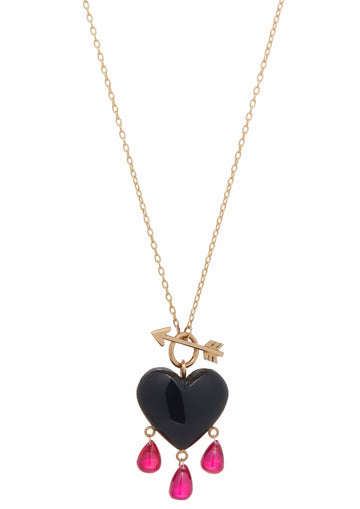 Onyx Bleeding Heart Necklace