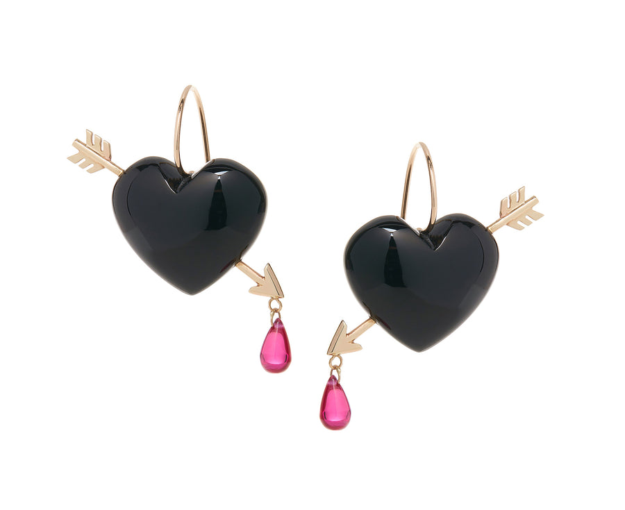Onyx Cupid's Arrow Earrings