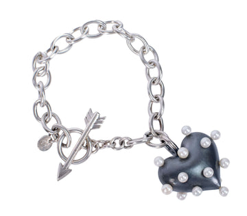 Pin Cushion Black Heart Bracelet