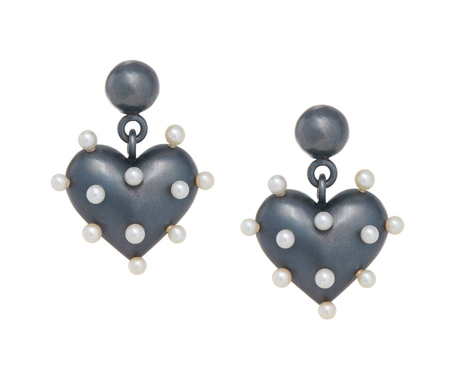 Pin Cushion Black Heart Earrings