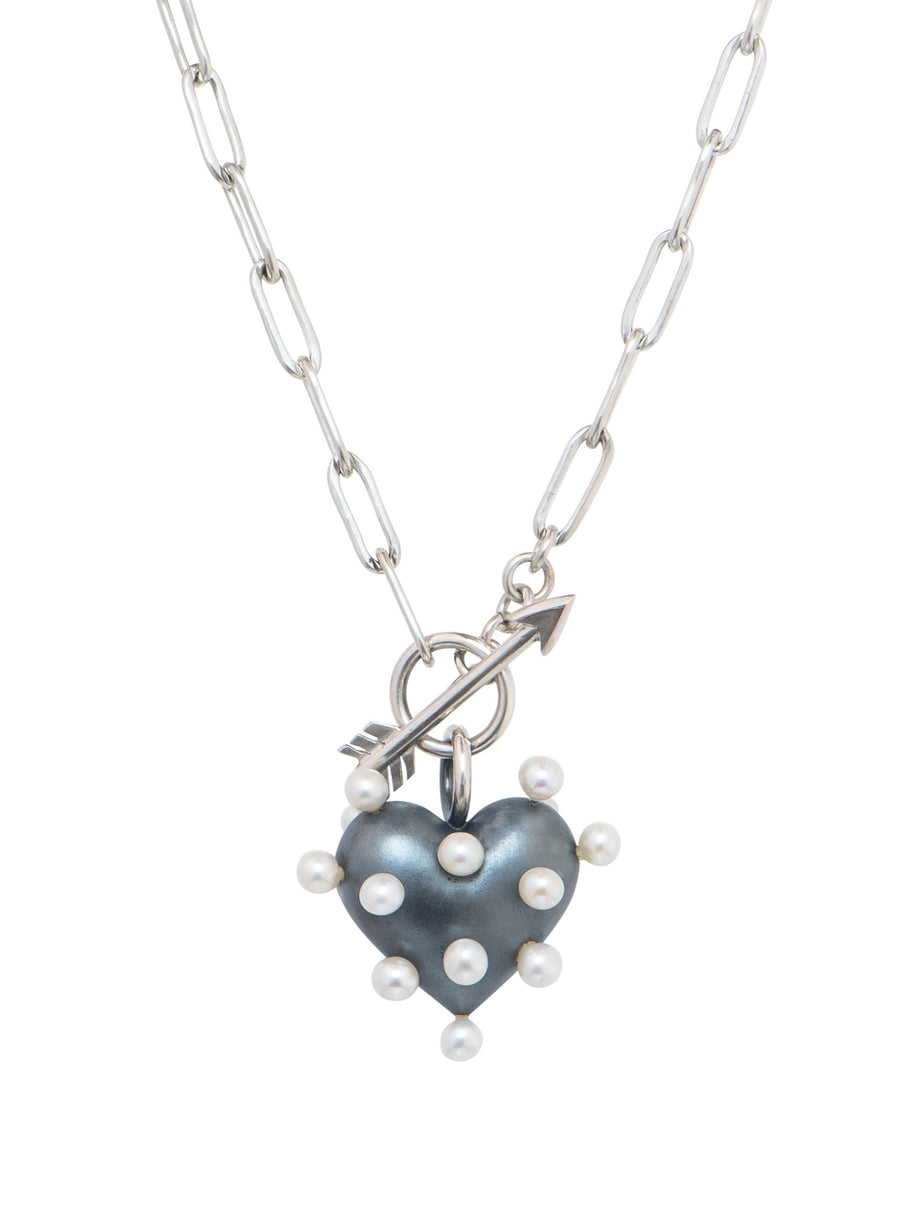 Pin Cushion Black Heart Necklace