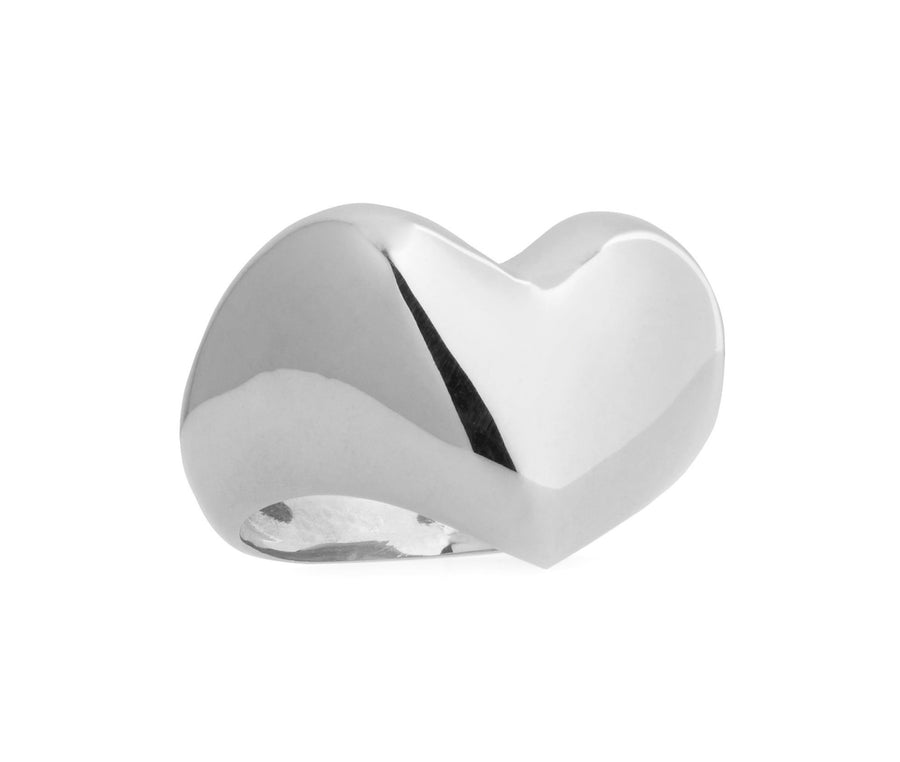 Puffed Silver Heart Ring