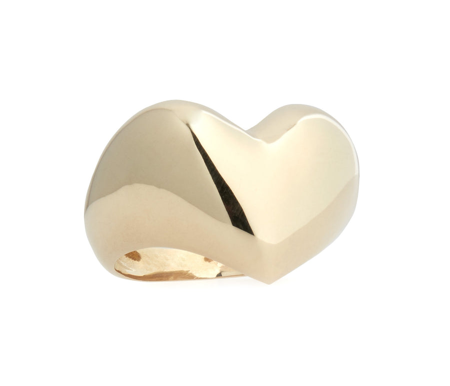 Puffed Gold Heart Ring