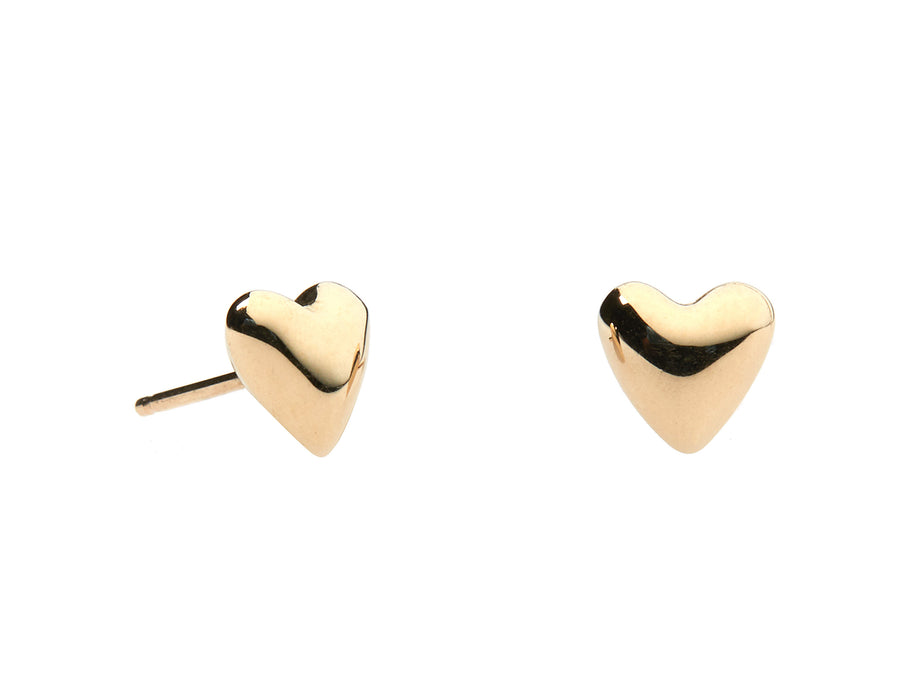 Puffed Gold Heart Studs