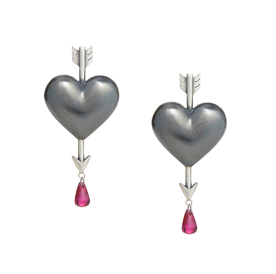 Through the Heart Earrings Medium