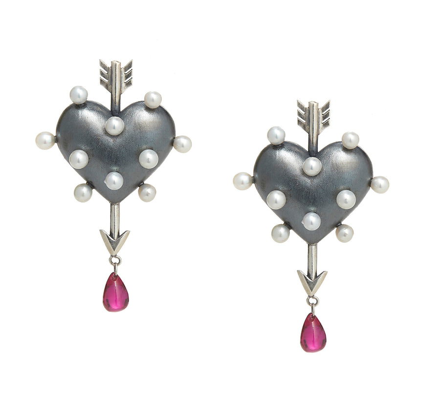 Through the Heart Pearl Earrings Medium