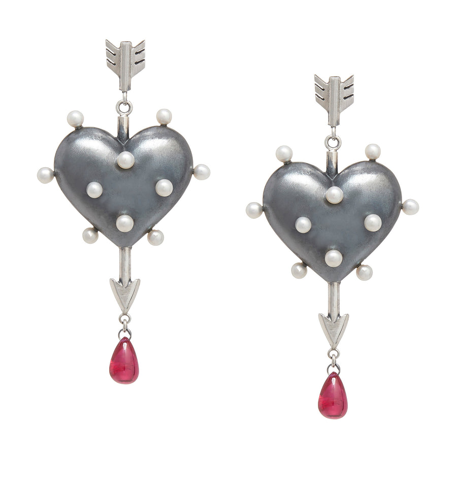 Through the Heart Pearl Earrings