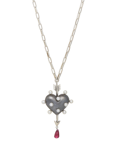 Through the Heart Pearl Necklace
