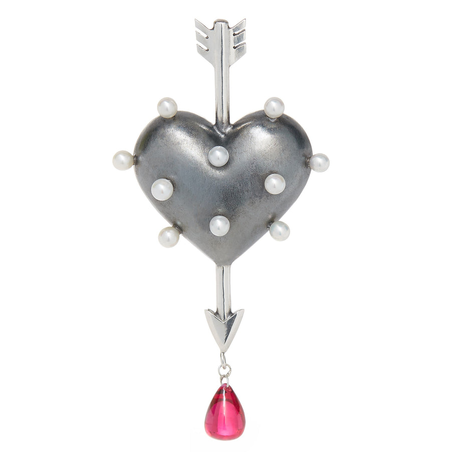 Through the Heart Pearl Brooch