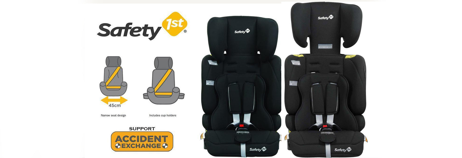 Super Narrow yet super comfortable. Check out the Safety 1st Solo Convertible Booster Seat