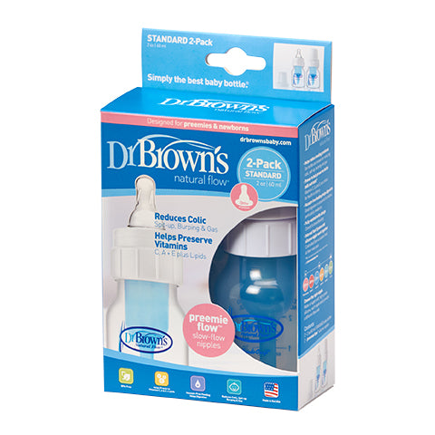 Dr Browns Narrow Neck 60ml Feeding Bottles with Premie Teat 2 Pack