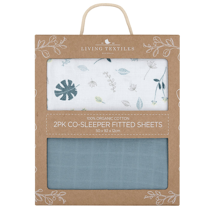 Living Textiles 2-pack Muslin Cradle/Co-Sleeper Fitted Sheet Banana Leaf/Teal