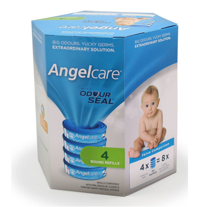 Angelcare Nappy Disposal System Refill Cassettes 4 Pack