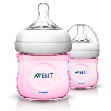 Avent Natural 125ml Feeding Bottle 2 Pack Pink