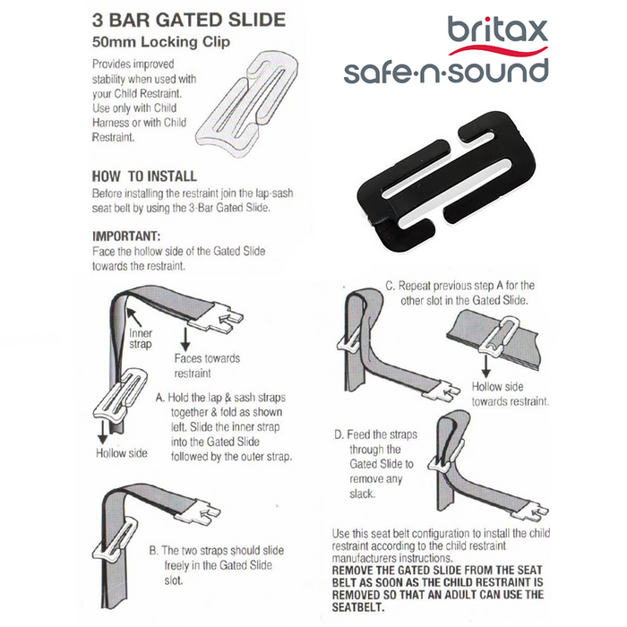 Britax Safe-n-Sound 3 Bar Gated Buckle Slide
