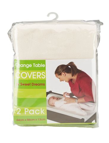 Sweet Dreams Change Table Mattress Cover Beige 2 Pack