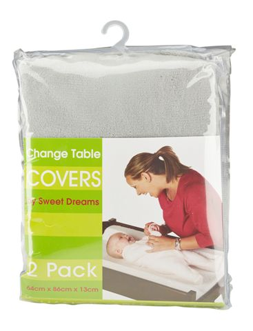 Sweet Dreams Change Table Mattress Cover Grey 2 Pack