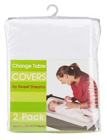 Sweet Dreams Change Table Mattress Cover White 2 Pack